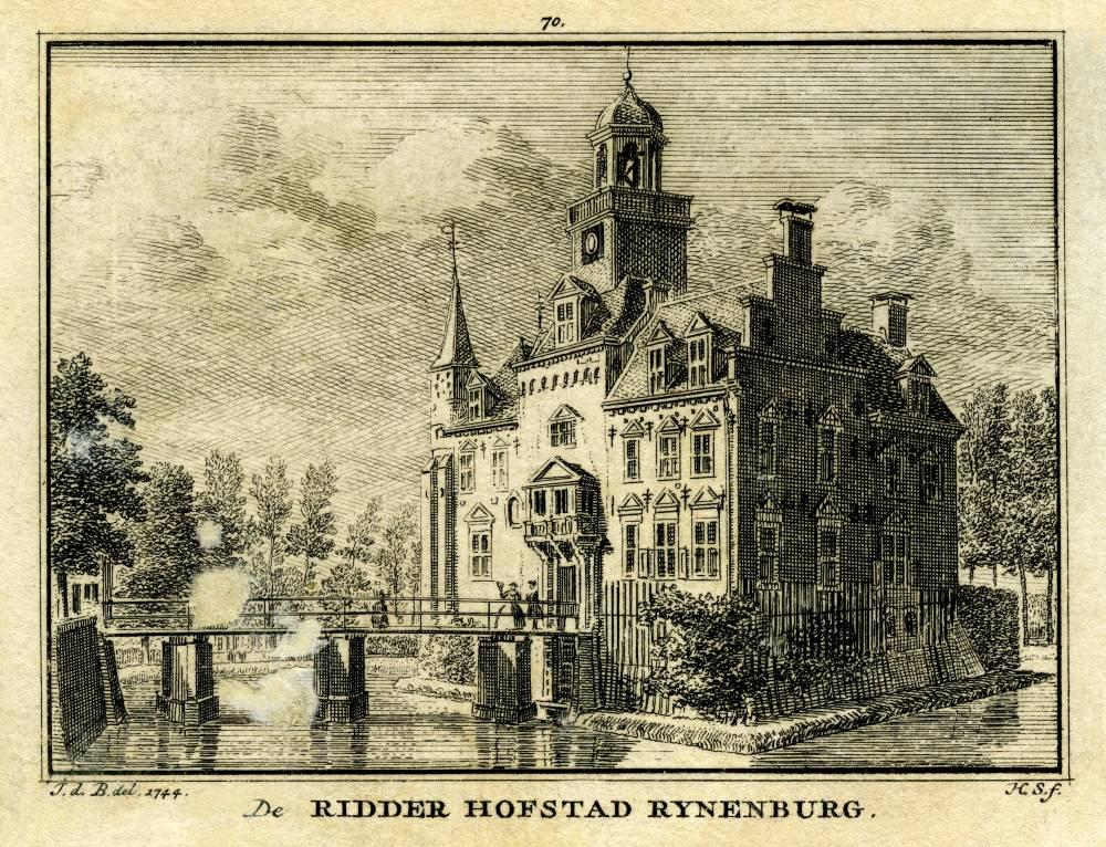 Kasteel Rijnenburg in Jutphaas. Tekening Jan de Beijer, gravure Hendrik Spilman (Uit: Het Verheerlykt Nederland, Isaac Tirion, 1745/1774)